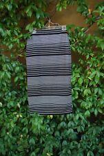 NWT Max Studio Pink Black and White Striped Stretch Midi Skirt Size XS MSRP $78