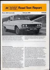 Rover 3500 Automatic P6 Road Test 1974 UK Market Foldout Brochure AA