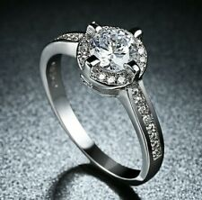 2.00 Ct Double Halo Crystals Engagement Wedding Ring in White Gold Played ITALY
