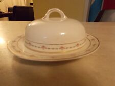 Vintage Butter Dish domed lid, gold trim and roses handpainted Crooksville China