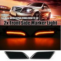 For 2012-14 Mercedes W204 C250 C300 C350 Smoked LED Side Marker Light Indicator