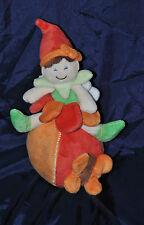 Peluche Doudou Lutin BABY LUNA Musical Boule Papillon Orange Vert 21Cm TTBE
