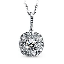FASHION ATTITUDE 18k white gold gp CZ square pendant necklace classic design