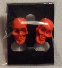 Skull Stud Pair Earrings (ORANGE) Funky Punk Rocker/Retro Men/Women Boys/Girls
