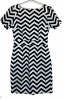 Portmans Womens Black/White Striped Short Sleeve A-Line Lined Dress Size 8