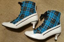 Mimi Shooz NIB Vntg Style Lace-Up Ankle Boots Leather/Canvas Kitten-Heel Sz 7.5