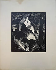 """Gravure sur bois originale de JACQUEMOT, """"Maison au bord de la rivière"""""""