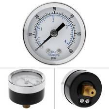 "1/8"" NPT Air Compressor /Hydraulic Pressure Gauge 0-60 PSI Mount Back 1.5"" Face"