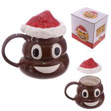 Smiling Poo Poop Emoji Mug with Christmas Lid Novelty Emoticon Poo Design Mug