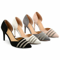 Brinley Co. Womens Faux Suede D'orsay Pointed Toe Heels