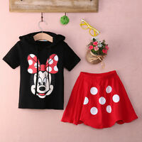 New Baby Girls Kid Minnie Mouse Clothes T-shirt+Polka Dot Dress Skirt Outfit Set