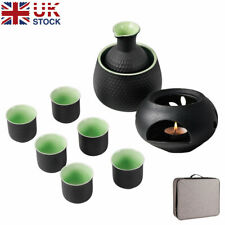 More details for 9pcs sake set japanese cups pot porcelain pottery with warmer candle stove boxed