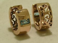 E005 Genuine 9ct Rose / Pink Gold Natural Topaz HUGGIES Hoops Earrings Filigree