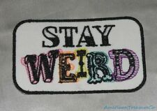 Embroidered Retro Vintage Style Stay Weird Rainbow White Patch Iron On Sew USA