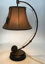 """Catch Of The Day""  Table Lamp Fly Rod & Reel Fish Rustic Cabin Lodge Decor"