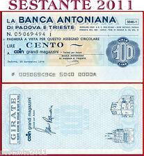 BANCA ANTONIANA PADOVA TRIESTE LIRE 100 15.11. 1976 GRANDI MAGAZZINI COIN  B234