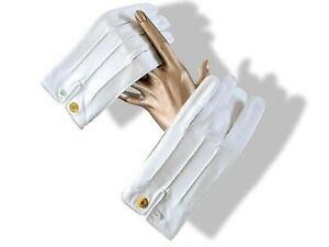 Hermes [GL17] Women's Blanc/Gold Clous de Selle Lambskin NERVURES Gloves Sz7.5