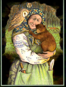 PAGAN WICCAN GREETING CARD Cave of Dreams CRONE BEAR WITCH GODDESS WENDY ANDREW