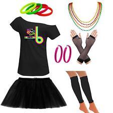 Ladies Off Shoulder 80s Party Classic T Shirt Set Retro Party Accessories 6415