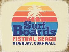 Surf Boards, Seaside Fistral Beach Newquay Cornwall Retro Small Metal/Tin Sign