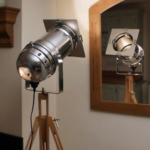 Long Polished Stage Spotlight & Wooden Tripod, Industrial Chic Floor Lamp