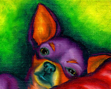 8x10 CHIHUAHUA Pop Art PRINT Signed Dog Art of Original Painting Artwork by VERN