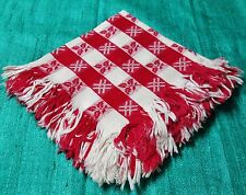 Antique Turkey Red & White Damask Fringed 6 Napkins Checkerboard Design