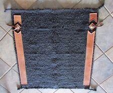 Western Horse Show Saddle Blanket Wool w Basket Weave Leathers & Concho  34 x 38