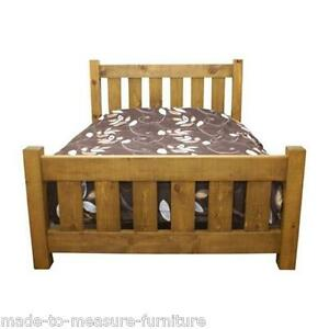 "NEW REAL SOLID WOOD CHUNKY RUSTIC PLANK PINE 54"" DOUBLE BED & slats for mattress"