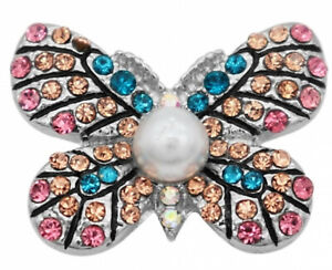 Blue Brown Pink Rhinestone Butterfly 20mm Snap Charm for Ginger Snaps Jewelry