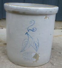 Antique Vtg 2 Gallon Red Wing Union Stoneware Birch Leaf Bottom Signed Crock