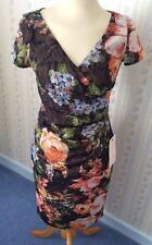 Adrianna Papell Evening Metallic Floral Sequin Stretch Dress - Size UK 8 - BNWT