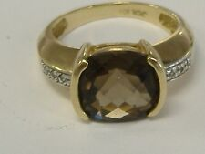 VINTAGE SOLID 10 K GOLD  SMOKY TOPAZ  AND DIAMOND ACCENT RING SIZE 6.75