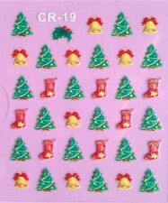 Nail Art 3D Stickers Glitter Decals Christmas Tree Stockings Bells Holidays CR19