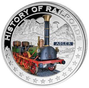 Liberia 2011 $5 History of Railroads - Adler Proof Silver Coin