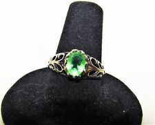 Estate ~ 0.75 Ct Peridot Sterling Silver 925 scrolled Ring Sz 8 Vintage