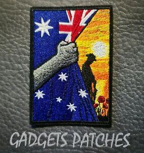Aussie Digger Anzac Australia Harley Davidson Biker Iron On Patch