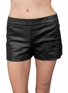 Womens Quilted Black Leather Shorts Lambskin Tracking Jogging Workout Pants WS71