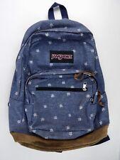 Jansport Originals Denim Backpack Leather Bottom Preowned Ships Quick