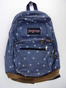 Jansport Originals Denim Backpack Leather Bottom Preowned 3-zip Pockets