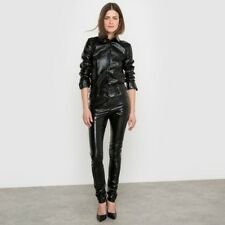 Women & Girls 100% Genuine Lambskin Patent Leather Moter Biker Pant Slim-Fit