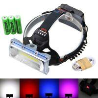 30W COB LED USB Rechargeable 3x18650 Head lamp light Fishing Warning Flashlight