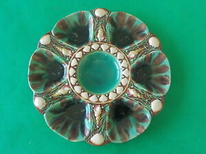 c. 1873 Mintons Majolica Oyster Plate Seaweed & Shells