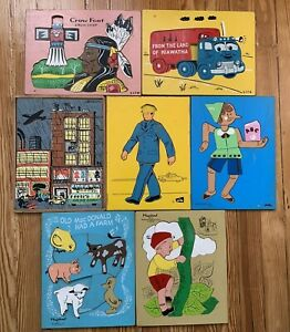LOT Vintage Wooden Puzzles SIFO Judy Playskool Creative Playthings See Note