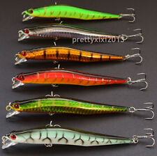 Lot 6 Plastic Minnow Fishing Lures Floating Rattles Bass Crankbait 12cm 4.7inch