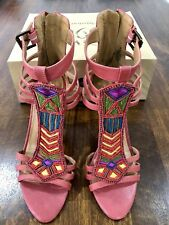 Nine West Vintage American Collection Pink Red Beaded Strappy Leather Pumps