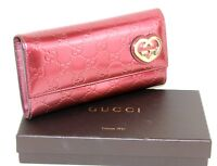 Auth GUCCI Patent Red Leather GG Heart Motif Bifold Long Wallet Purse italy Used