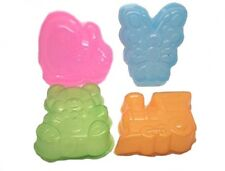 4 Jelly Moulds Party Plastic Moulds Dome Jellies Butterfly Bear Train Dinosaurs