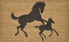 Horse Doormat - Horse & Foal at Play on Coir Doormat Pvc Backed Mat