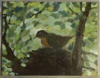 """Momma Bird"" Original Oil Painting 11""x14"""